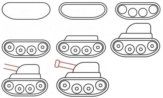 как нарисовать танк с ребенком