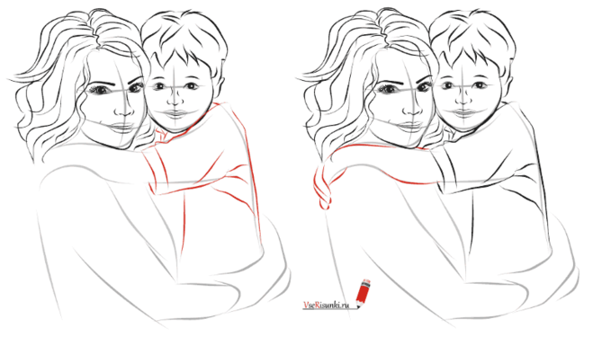 Мать и дитя рисунок карандашом Коллекция изображений