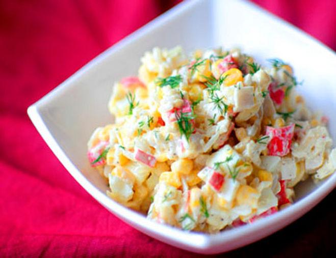 Кукуруза крабовые палочки рис салат