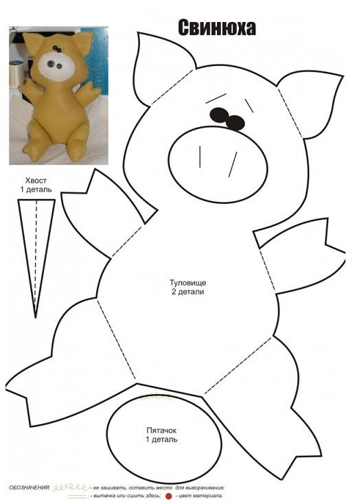 сшить свинью, свинку, поросенка из ткани своими руками, выкройки для игрушки свинки
