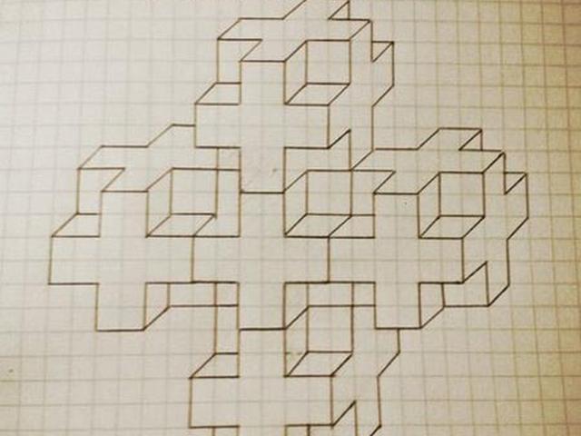 Рисунки с кубиками по клеточкам