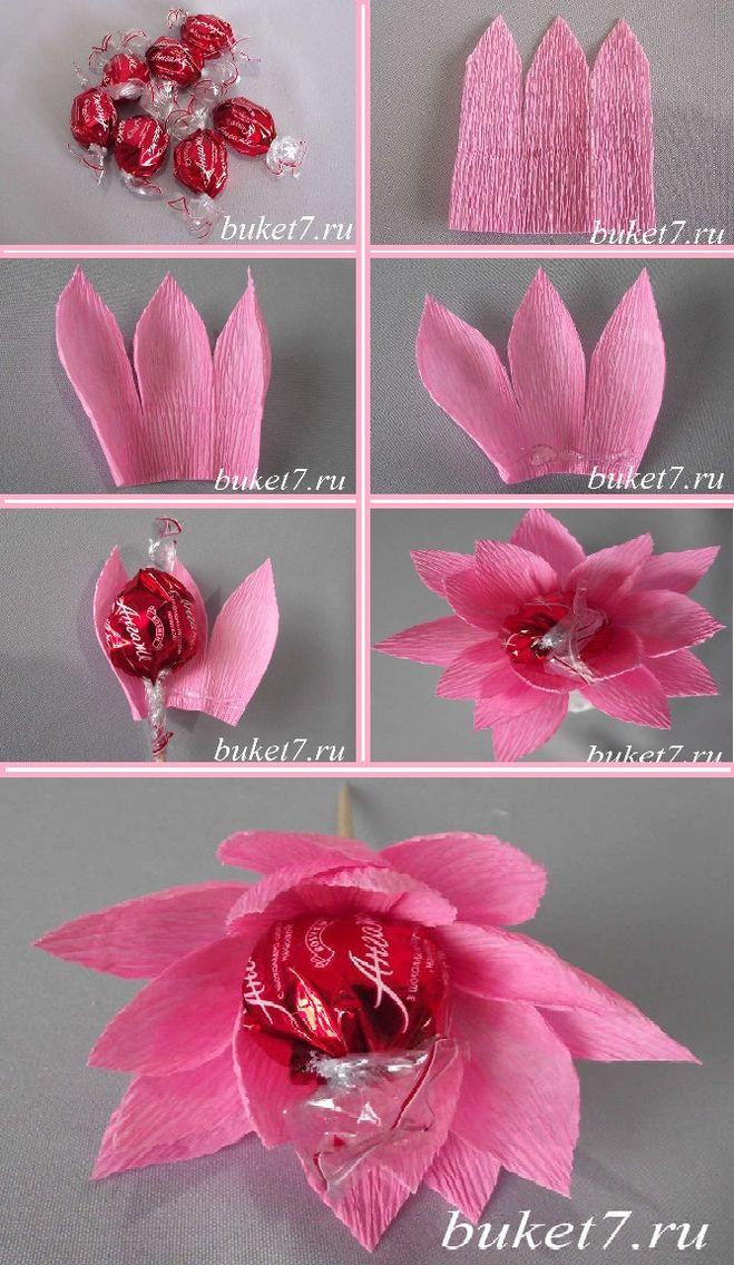 Как конфету завернуть в цветок