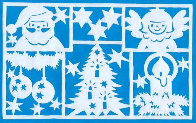 Трафареты из бумаги на стекло к новому году картинки