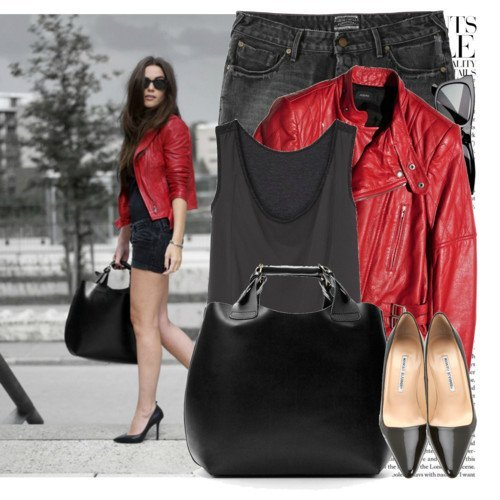 С чем носить красную кожаную куртку?