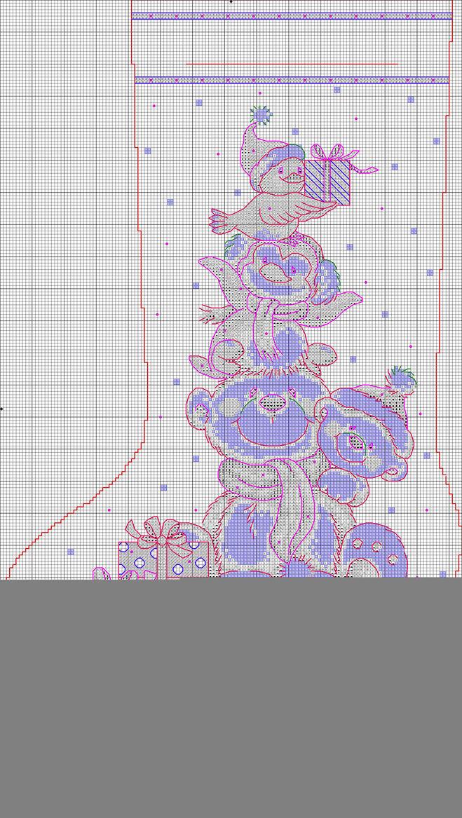 Схема вышивки новогоднего сапожка 82