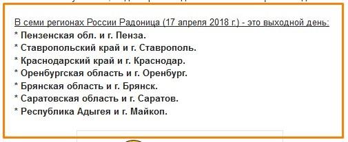 В каких регионах России Радоница выходной день