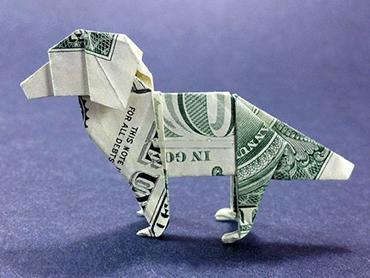 собака из денежной купюры