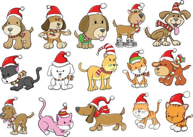 Новогодние собачка рисунок