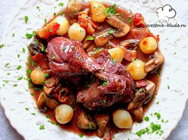 Французская кухня; Петух в вине; Коньяк; Рецепт; Блюдо