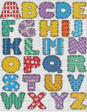 английский алфавит для вышивания с буквами схема