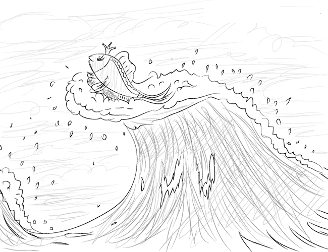 рисунок золотой рыбки и рыбака карандашом