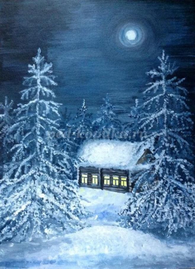 как нарисовать зимний ночной пейзаж поэтапно  для детей 6-9 лет мастер-класс гуашь
