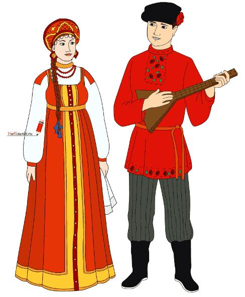 Как нарисовать русскими народный костюм
