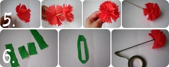 Как сделать гвоздику из бумажной салфетки