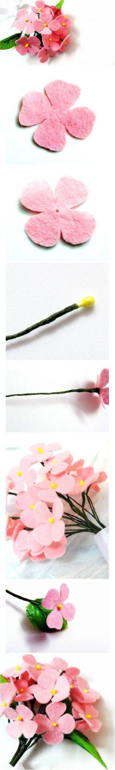 Выкройки цветы из фетра своими руками с пошаговым фото