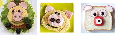 детский бутерброд в виде свиньи на новый год 2019