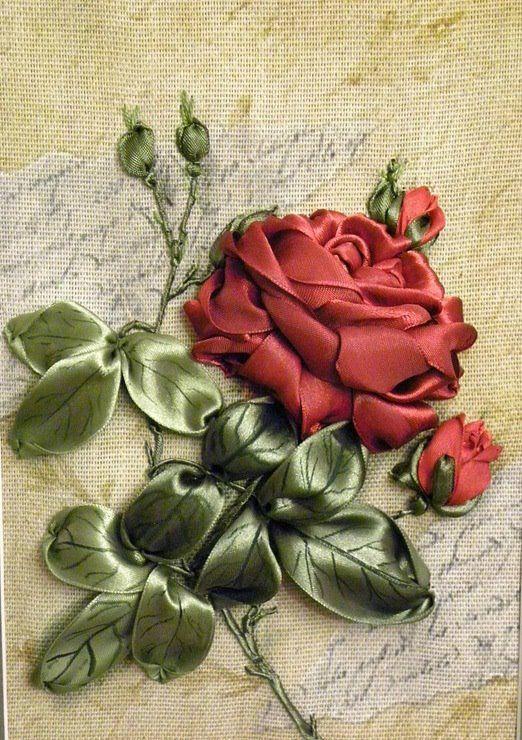 Как вышить лентами бутон розы