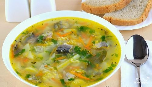 суп с сайрой
