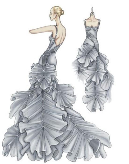 Как нарисовать платье современное