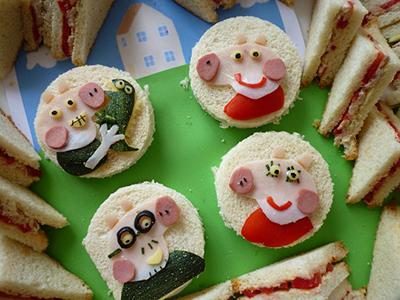 детский бутерброд в виде поросенка на Новый год 2019 Свиньи