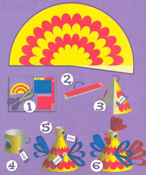 сделать петуха из картона, шаблоны своими руками