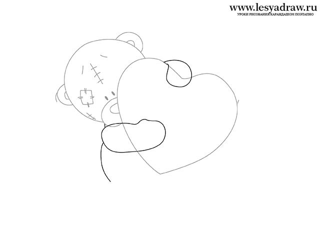 Как рисовать мишек тедди поэтапно с сердечком