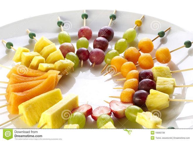 Рецепты канапе из фруктов на шпажках