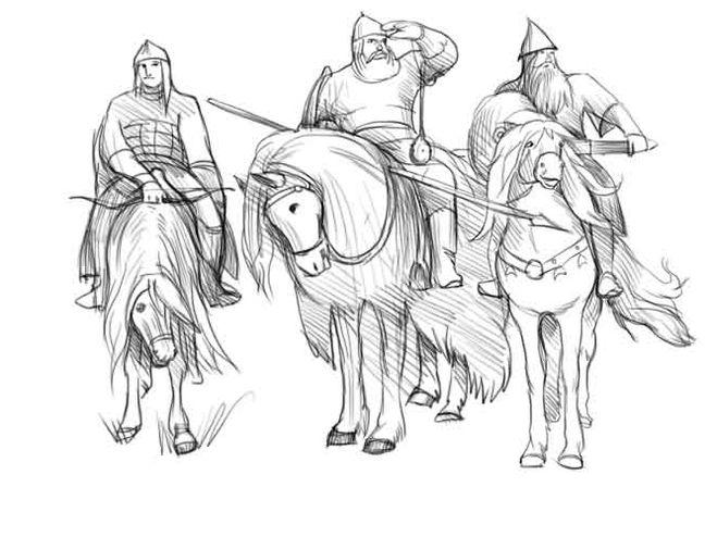 Как нарисовать трёх богатырей карандашом поэтапно