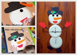 поделка снеговик из одноразовых тарелок