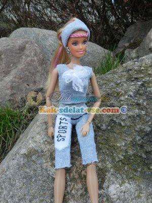 спортивный костюм для Барби из носка