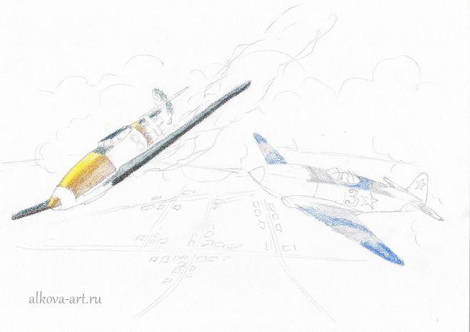 пошаговое рисование воздушного боя
