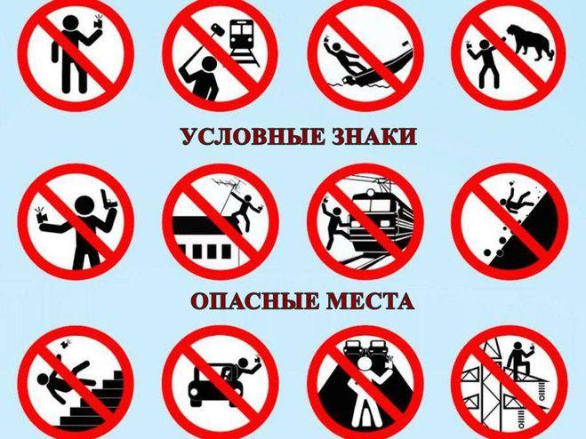 опасные места, условные знаки