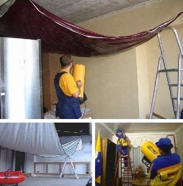 У нас уже сделаны шкафы как натянуть потолок