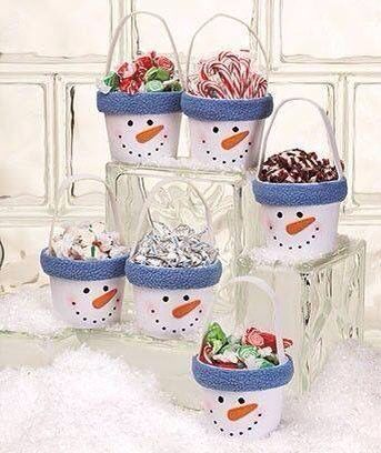 снеговик-ведерко с подарками