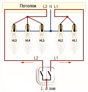 Как сделать чтобы лампочки в люстре 108