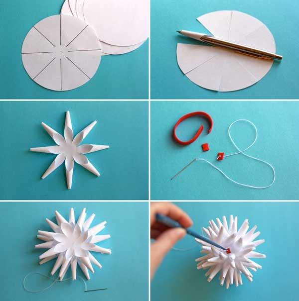 как сделать объемную снежинку