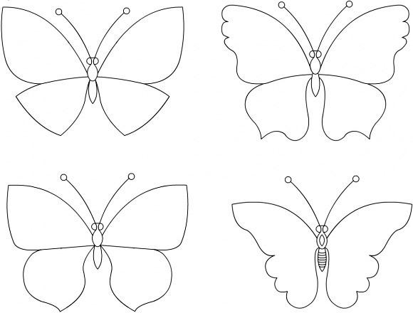 Шаблон, трафарет, схема лекало бабочка для аппликации