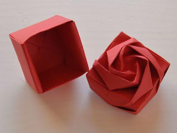 роза-коробка оригами