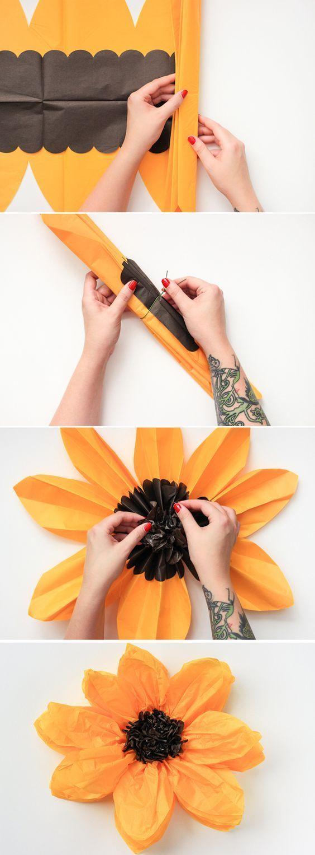Как сделать очень большой цветок из гофрированной бумаги