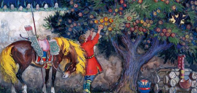 Сказка о молодильных яблоках рисунок