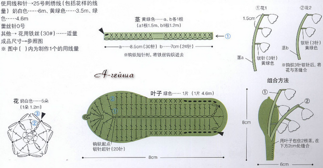 схема вязания ландыша