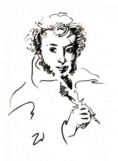 Рисунки пушкина карандашом поэтапно