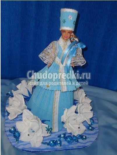 Как сделать самому костюм снегурочки для куклы?