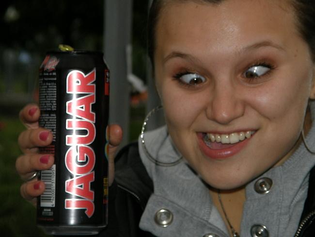 Пьет ягуар и сосет