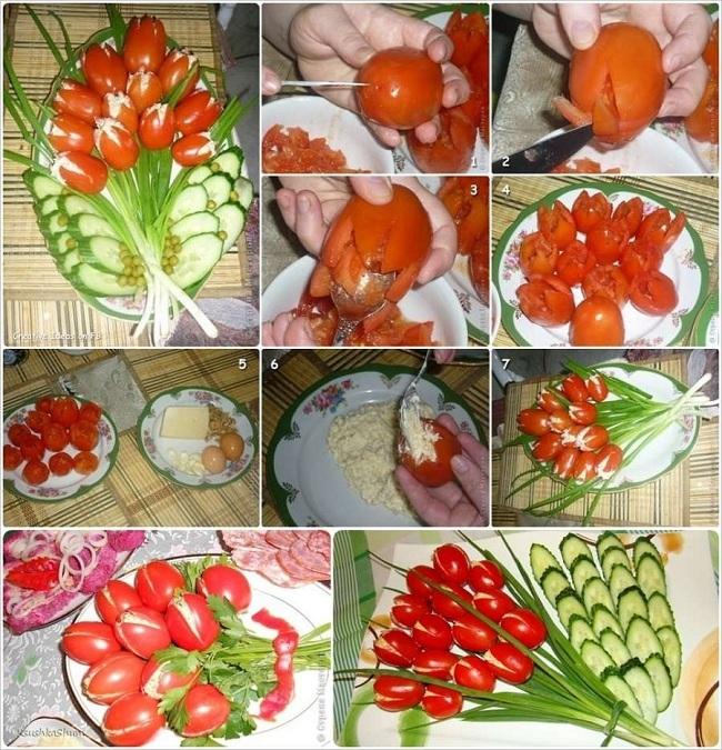 Украшение салатов пошагово