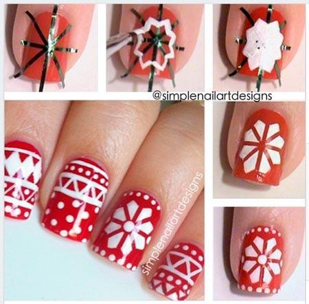 Как рисовать на ногтях снежинку в домашних условиях
