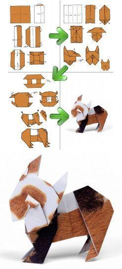 собака оригами схема