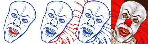 клоун Пеннивайз поэтапный рисунок