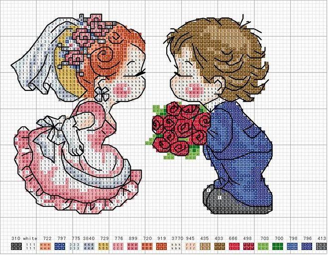 Схемы вышивание свадьба