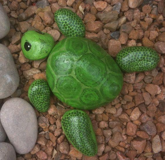 поделка раскрашивание камней черепаха